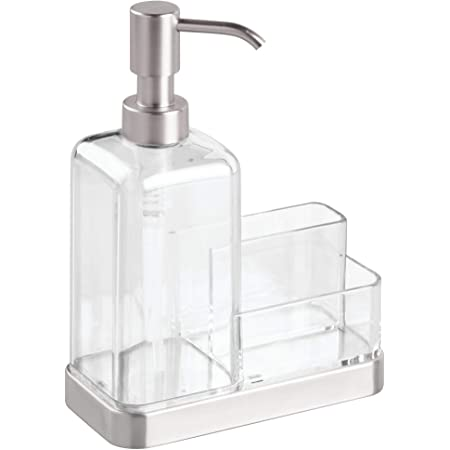 iDesign 67080 Forma Plastic Soap Pump with Caddy, Dispenser with Storage Compartment for Bathroom, Kitchen Countertops, Sinks, Set of 1, Stainless