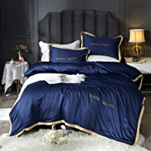 FACAI Grey Bedding Double Sets, Silk Bedding Sets King Size, Navy White Bedding Sets Duvet Cover Sets King Size Luxury Full Satin Silk Soft Silky 4 Piece Comforter Cover Set Adult Double Flat Sheet