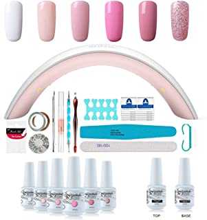 Gel Nail Polish Starter Kit - 6 Colors Gel Polish Set Base Top Coat, 36W LED Nail Dryer Lamp with Full DIY Gel Manicure Nail Tools by Vishine 8ml #C003