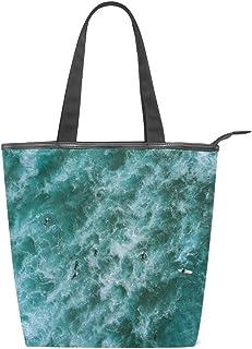N/Q Sea Surfen grüne Segeltuch-Tragetasche mit Reißverschluss, große Damen-Schultertasche Handtasche, wiederverwendbar, strapazierfähig, Einkaufen, Lebensmittel, Segeltuch-Tasche für draußen
