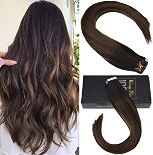 Sunny Tape in Hair Extensions Human Hair 22 inch Tape in Balayage Hair Extensions Remy Straight Hair Extensions Tape in Real Natural Hair Brown Color 20pcs 50g