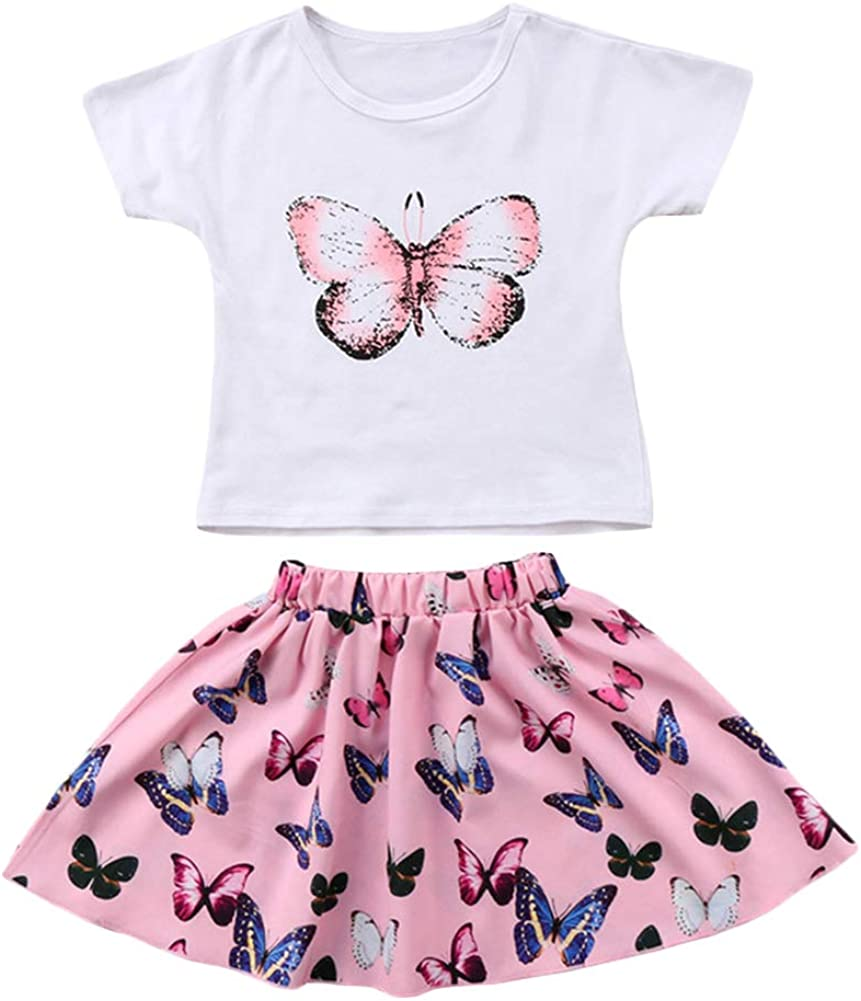 BIUXIAOBAI Little Sale special price Girls' Butterfly Prints Sleeve a Free shipping New T-Shirt Short