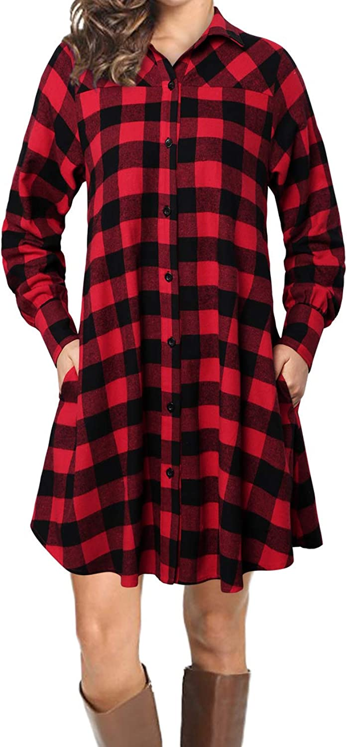 Faddare Casual Long Sleeve Tunic Tops Plaids Shirt Dress with Pockets for Women