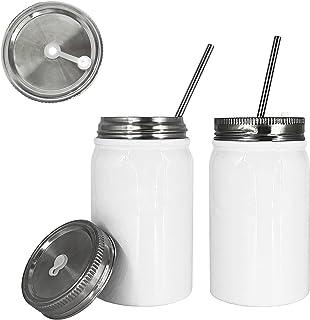UHUZZ Sublimation Blank Mason Jar Tumbler,17 OZ Stainless Steel Blank Mason Cup,Stainless Steel Straw and Waterproof Cover...