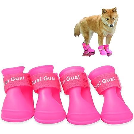 犬 靴 ドッグブーツ 愛犬のお散歩 滑り止め 可愛い 防水 雨の日 柔らか シリコン素材 小型犬 中型犬 大型犬 ドッグシューズ 犬靴 4個入り (L, ピンク)