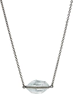 Stone Pave Pendant Necklace 32""