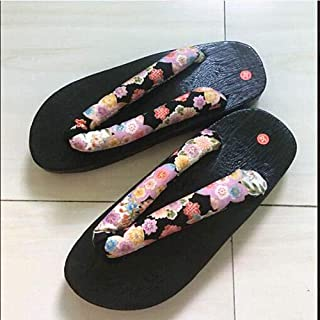 YYTIANYY Flip flop Japanese Samurai Shoes Oriental Ethnic Chinese Geta Clogs Round Toe Unisex Cosplay Slipper Wooden Comfo...