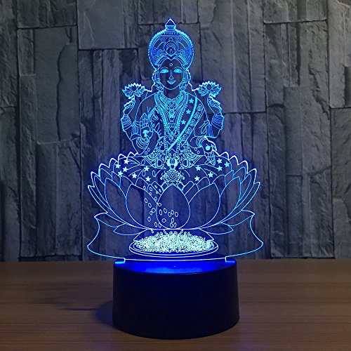 7 Color Changing Night Lamp 3D Atmosphere Bulbing Light 3D Visual Illusion LED Lamp for Kids Toy Christmas Birthday Gifts (Buddha)