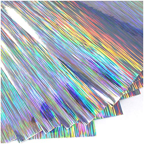 (16,00€/m²) Din A4 Bogen Bastelfolie Selbstklebend Künstlerfolie Plotterfolie Plottfolie Hologramm Glitzer Folie Basteln DIY (Lines, 10er Set Din A4 Bögen)