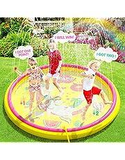Peradix Splash Pad,170cm PVC Chapoteo Almohadilla Aspersor de Juego,Almohadilla de Aspersión Piscina de Juego de Verano para Niños para Familiares Aire Libre Fiesta Playa Jardín