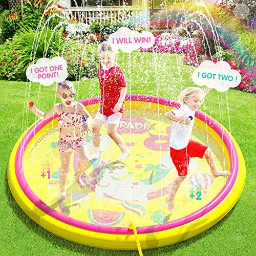 Peradix Splash Pad 170cm PVC Chapoteo Almohadilla Aspersor de Juego,Almohadilla de Aspersión Piscina de Juego de Verano para Niños para Familiares Aire Libre Fiesta Playa Jardín