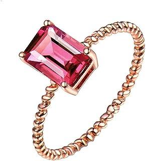 Daesar Anello Promessa di Matrimonio Oro Rosa 18K, Design Contorto 4 Claws Rectangle Tourmaline 1.2ct Anello Oro Rosa Donna