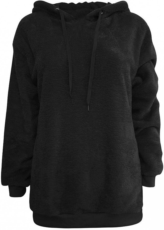 Toeava Hoodies for Women, Women's Long Sleeve Fuzzy Fleece Hoodie Sweater Thermal Drawstring Zipper Pockets Sweatshirt