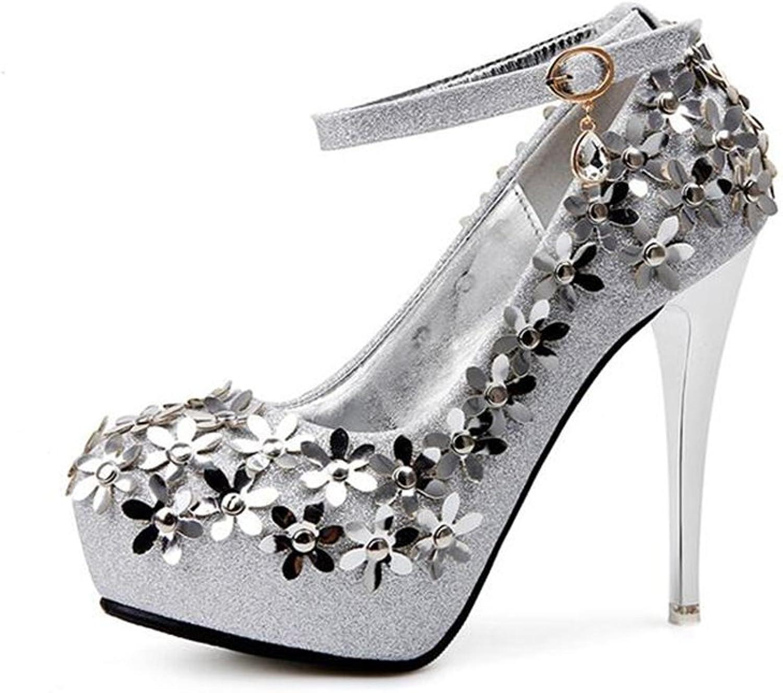 AGoGo Rhinestone Pump Peep Toe Women's High Heel Platform Bridal, Party, Prom, Wedding shoes