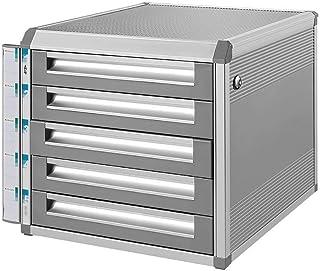 KANJJ-YU Bureau Tiroir Sorter, 5 tiroirs avec armoire de rangement verrouillage de sécurité Sliver Cabinet-(Taille: 12.6in...
