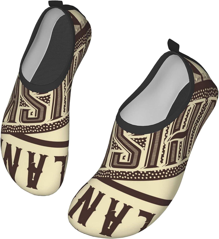 Whiskey Design Old Fashion Scottish Alcohol Retro Drink Taste Quality, Ivory Chocolate Water Shoes Swim Wading Shoes Barefoot Aqua Socks Shoes for Women Men Beach Pool Surfing