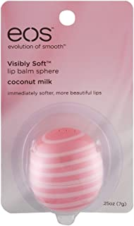 EOS Visibly Soft Lip Balm Sphere, Coconut Milk 0.25 oz (Pack of 10)