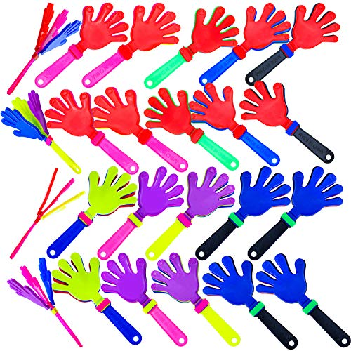 Resinta 24 Pieces Hand Clappers Plastic Noisemaker Noise Makers with Drawstring Bag for Fiesta Party Birthday Favors, 7.5 Inch
