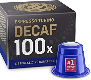 100 Decaf Nespresso Compatible Capsules - Decaffeinated Espresso Torino