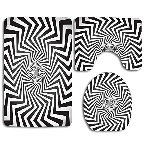 N\A Angular Spiral Whirlpool Hypnotism Rotated Rays Abstraktes Wirbelmotiv rutschfeste Badematte Badezimmer Toilettensitzbezug und Teppich Weihnachtsdekor 3St