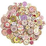 Lawei 400 pezzi Bottoni in legno misti a 2 fori, rotondi decorativi in legno per cucito e artigianato