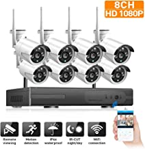 DCZ 8 Channel 1080p NVR Kits,Home Security System with 8 1080p Bullet Cameras, 100ft Night Vision,36.mm Lens,Home Surveill...