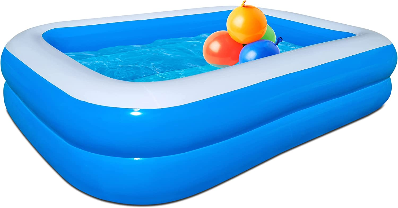Piscina infantil con 100 bombas de agua – Extrafuerte y estructura de flash – Piscina hinchable I 262 x 175 x 51 cm I Piscina rectangular de 2 m para niños, piscina de plástico
