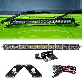 Racbox 100W 20'' Inch Offroad LED Light Bar 6000K White Combo beam + Hood Mounting Brackets Single Row Led Light Bar for Jeep Wrangler 07-15