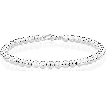 MiaBella 925 Sterling Silver Italian Handmade 4mm Bead Ball Strand Chain Bracelet for Women 6.5, 7, 7.5, 8 Inch Made in Italy