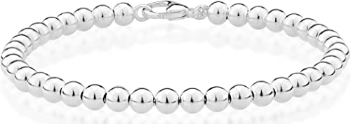 MiaBella 925 Sterling Silver Italian Handmade 4mm Bead Ball Strand Chain Bracelet for Women 6.5, 7, 7.5, 8 Inch Made ...