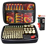 Surdarx 205+ All Batteries Organizer Storage Holder, Included Battery Tester BT-168, Keeper Bag Hard-top Carrying Case Box- Holds AA AAA C D 9V 3V Lithium LR44 CR2 CR1632 (Not Included Batteries)