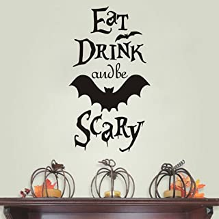 FlyWallD Pumpkin Halloween Bat Decal Wall Sticker Quotes EAT Drink and BE Scary for Living Room Home Party Vinyl Art Decor