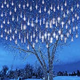 Kwaiffeo Meteor Shower Lights, Christmas Tree Lights Outdoor 12 inch 8 Tube 192 LED Falling Snow Cascading Icicle String Lights for Christmas Decoration Wedding Party Holiday Window Eave, White