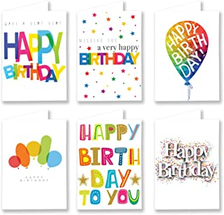 30 Pack Colourful Birthday Cards - Multipack Happy Birthday Cards with Envelopes Box Set for Adults and Kids - Set 6 - by ...