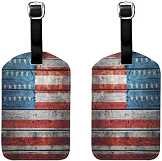 Travel ID Bag Tag Rustic American USA Flag,July Independence Day Weathered Antique Wooden Looking National Celebration Image Labels Tag for Baggage,