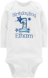 Embroidered First Birthday Year 1 Onesie Bodysuit for Baby Boys with Your Custom Name