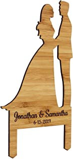 Personalized Silhouette Rustic Bamboo Wood Cake Topper Decoration