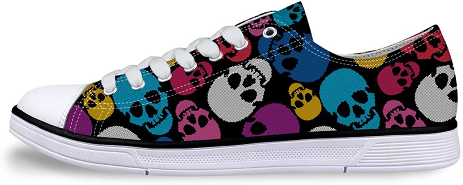 Mumeson Stylish Skull Print Women Canvas Sneaker Casual Ultralight Walking shoes