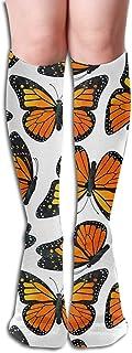 Monarch Butterfly Pattern Customized Knee High Help Uniform Sports Casual Socks For Girls Football Cheerleading