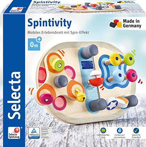 Selecta 62064 Spintivity, Motorikbrett aus Holz, 20 cm, Spinitivity