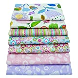Set di 7 scampoli di tessuto quilting tessuto pacchi, 46 x 56 cm floreale stampato tessuto di cotone per cucire quilting patchwork, 18' x 22'
