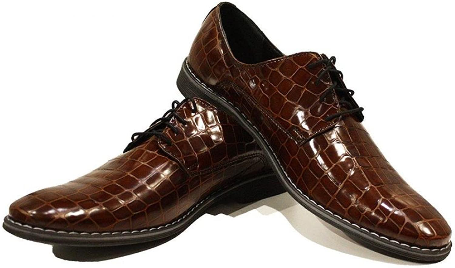 Modello Gozo - Handmade Italian Leather Mens color Brown Oxfords Dress shoes - Cowhide Embossed Leather - Lace-Up
