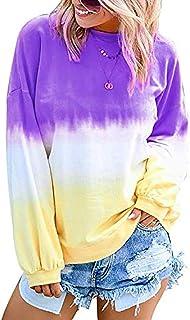 Anoir Womens Sweatshirt Casual Gradient Colorblock Long Sleeve T-Shirt Pullover Top Shirt