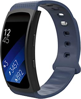 MoKo for Samsung Gear Fit2 / Gear Fit2 Pro Watch Band, Soft Silicone Replacement Sport Band for Samsung Gear Fit 2 SM-R360 / Fit 2 Pro Smart Watch, Midnight Blue (Fits 5.90