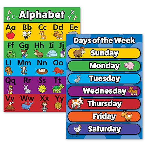"""2 Pack - ABC Alphabet & Days of The Week Poster Set (Laminated, 18"""" x 24"""")"""