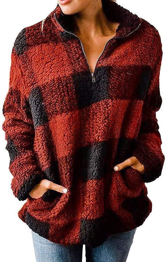 Hamleo Ranking TOP1 Women Fuzzy Fleece Hoodie Plaid Sweatshirt Translated Pullove