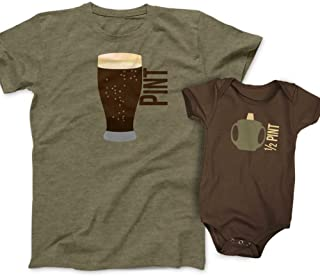 Pint and Half Pint Beer Glass and Sippy Cup Gift Set - Olive/Brown