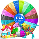 3D Pen Filament Refills, Low Melting Temp of 70℃ 3D Printing Filament, High-Precision Diameter PCL Filament 1.75mm, Pack of 20 Colors, Non-Toxic Non-Clogging, Christmas Gifts for Kids(330 FT)