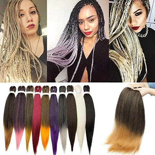 SEGO Rajout Extension Cheveux Fibre Synthetique Tresses Box Braids Crochet Braids Meche pour Kanekalon - [ 1 Ton 100g ] 26 Pouces (66cm) Noir Naturel+Blond Foncé