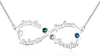 JF Collana Infinity in Argento con 4 Nomi Collana con Collier Personalizzata in Infinity Collana della Mamma